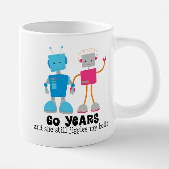 60 Year Anniversary Robot Couple Mugs