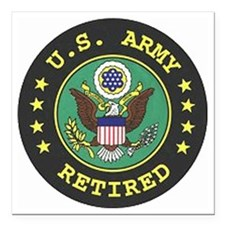 "ArmyRetiredSeal.gif Square Car Magnet 3"" x 3"""