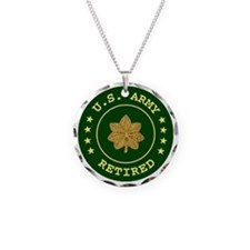 armyretiredmajor.gif Necklace Circle Charm