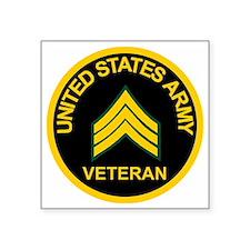 "ArmyVeteranSergeantBlack.gi Square Sticker 3"" x 3"""