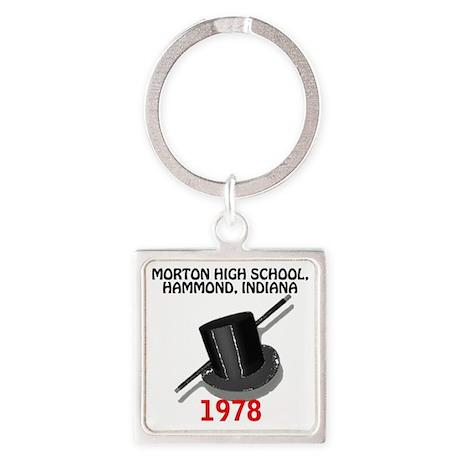 MortonHighSchool1978TopHatAndCane. Square Keychain