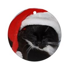 Little Christmas Cat Ornament (Round)