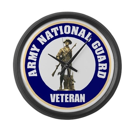 armynationalguardveteransealblue. Large Wall Clock