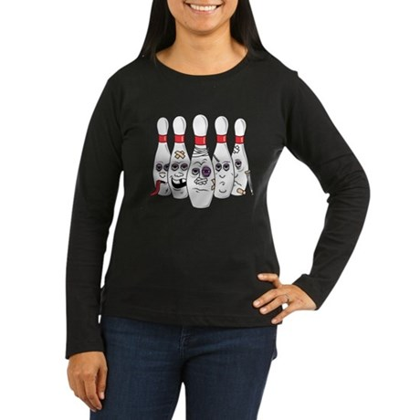 Beat Up Bowling Pins Women's Long Sleeve Dark T-Sh