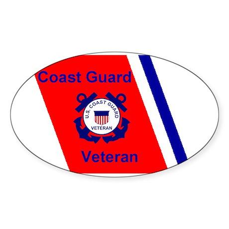 coastguardveteranracingstripesticke Sticker (Oval)