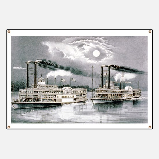 The great Mississippi steamboat race - 1870 Banner