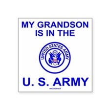 "ArmyMyGrandsonInBlue.gif Square Sticker 3"" x 3"""