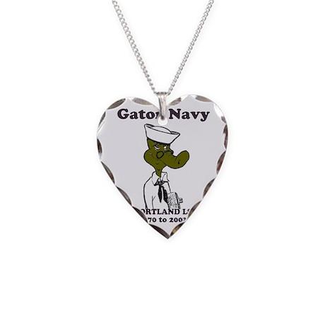 NavyShipCrestUSSPortlandMouse Necklace Heart Charm