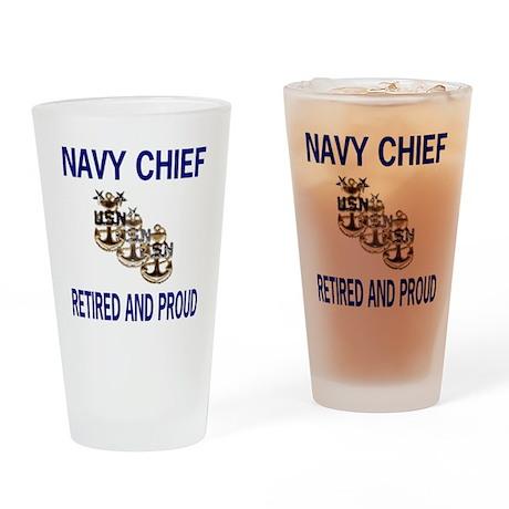 NavyRetiredChiefAndProud2.gif Drinking Glass