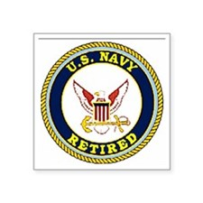 "NavyRetiredBlueRaglan.gif Square Sticker 3"" x 3"""