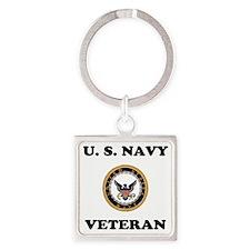 NavyVeteranTeeShirt2.gif Square Keychain