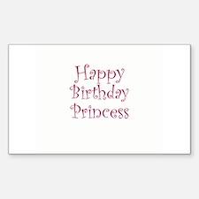 Happy Birthday Princess Rectangle Decal