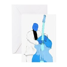 Upright bass blue n white player Greeting Cards (P