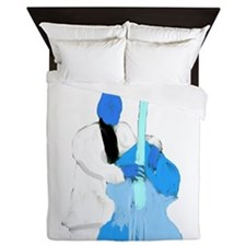 Upright bass blue n white player Queen Duvet