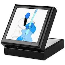 Upright bass blue n white player Keepsake Box