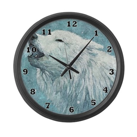 Howling White Wolf Large Wall Clock By Aaanativearts