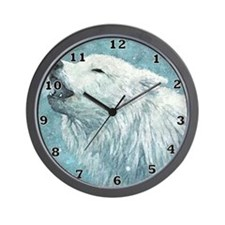 Howling White Wolf Wall Clock