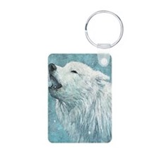 Howling White Wolf Keychains