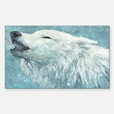 Howling White Wolf Sticker (Rectangle)