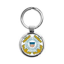 USCGSealDennis.gif Round Keychain