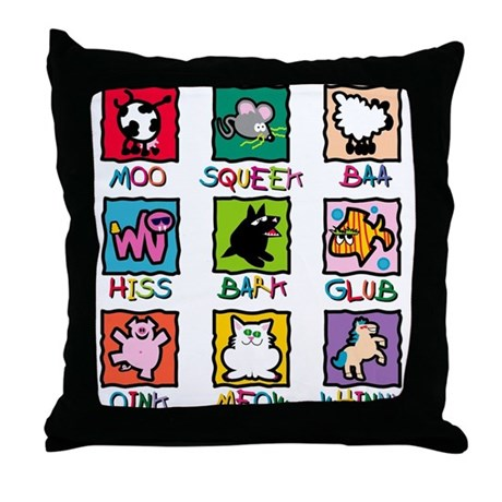 Animals and Sounds Throw Pillow