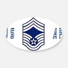 USAFChiefMasterSergeantBlueCap.gif Oval Car Magnet