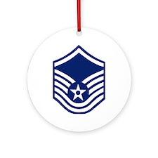 USAFMasterSergeantForCaps.gif Round Ornament