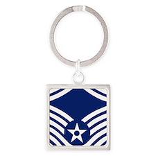 USAFMasterSergeantForCaps.gif Square Keychain