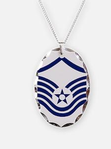 USAFMasterSergeantBlueStripes. Necklace Oval Charm