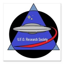 "UFO Research Society Logo Square Car Magnet 3"" x 3"