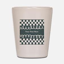 Custom Text Decorative Checkered Shot Glass