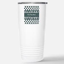 Custom Text Decorative Checkered Thermos Mug