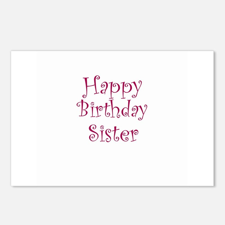 Happy Birthday Sister Postcards (Package of 8)