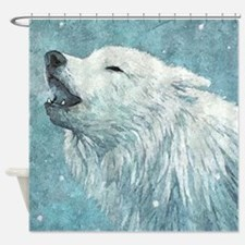 Howling White Wolf Shower Curtain