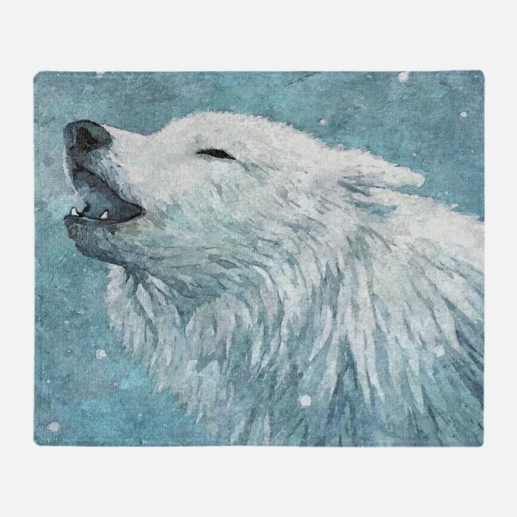 Howling White Wolf Throw Blanket