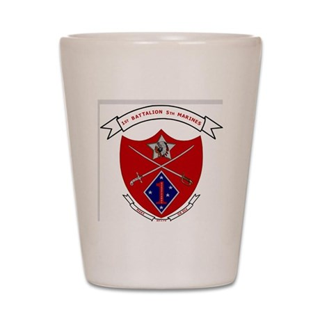 USMC1stBn5thMarinesLogoBonnieYellowShir Shot Glass