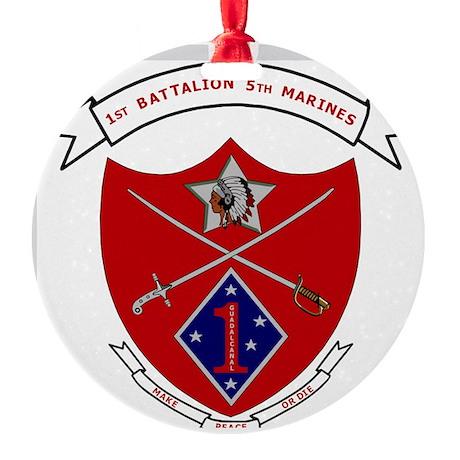 USMC1stBn5thMarinesLogoBonnieYellow Round Ornament