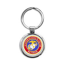 USMCRetiredSealBonnieBlueAndRedX.gi Round Keychain