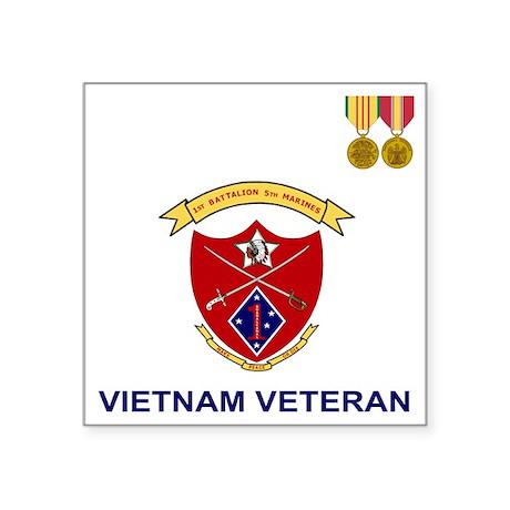 "USMC1stBn5thMarinesVietnamV Square Sticker 3"" x 3"""