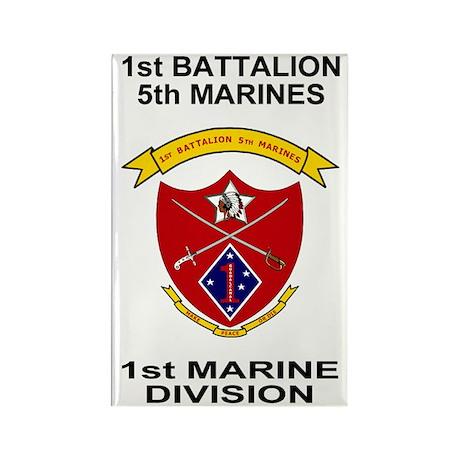 USMC1stBn5thMarinesShirtBackBlack Rectangle Magnet