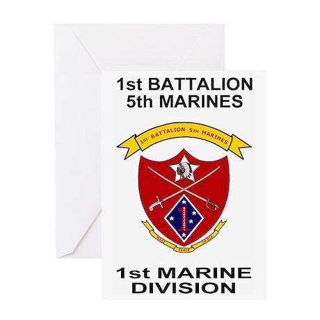 USMC1stBn5thMarinesShirtBackBlack.gi Greeting Card