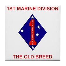 USMC1stMarineDivisionTeeShirt2.gif Tile Coaster