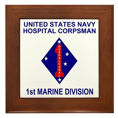 USMC1stMarineDivisionNavyCorpsman.gif Framed Tile