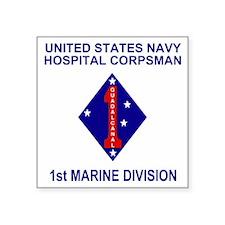 "USMC1stMarineDivisionNavyCo Square Sticker 3"" x 3"""