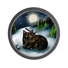 TORTOISESHELL CAT WINTER MOUNTAIN Wall Clock