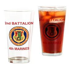 USMC2ndBn4thMarinesTeeshirt2OldRed. Drinking Glass