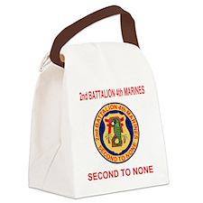 USMC2ndBn4thMarinesTeeshirtOldRed Canvas Lunch Bag