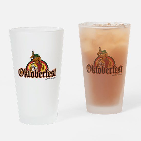 Oktoberfest Dachshund and Accordian Drinking Glass