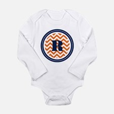 Orange & Navy Long Sleeve Infant Bodysuit