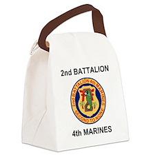 USMC2ndBn4thMarinesTeeshirtBlack. Canvas Lunch Bag